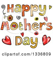 Clipart Of Patterned Sketched Happy Motehrs Day Text With Flowers Hearts And Spirals Royalty Free Vector Illustration