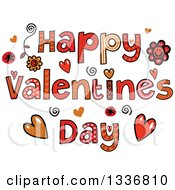 Clipart Of Patterned Sketched Happy Valentines Day Text With Flowers And Hearts Royalty Free Vector Illustration