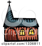 Clipart Of A Sketched Doodle Of A Church Building Royalty Free Vector Illustration