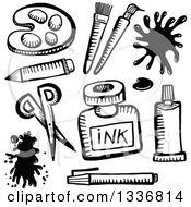 Clipart Of Sketched Black And White Doodled Art Supplies Royalty Free Vector Illustration