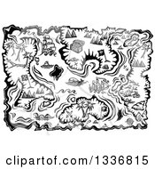Clipart Of A Black And White Treasure Map With Islands Boats And Loot Royalty Free Vector Illustration by Prawny