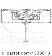 Clipart Of A Black And White Carte Postale Sign Royalty Free Vector Illustration