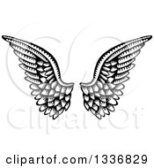 Clipart Of A Sketched Black And White Doodle Of A Pair Of Feathered Angel Wings Royalty Free Vector Illustration