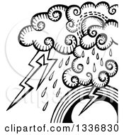 Clipart Of A Sketched Black And White Doodle Of Storm Clouds Rain And Lightning Over A Rainbow Royalty Free Vector Illustration