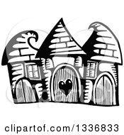 Sketched Black And White Doodle Of Cute Buildings With Curling Roof Tops