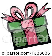 Clipart Of A Sketched Doodle Of A Birthday Gift Royalty Free Vector Illustration by Prawny