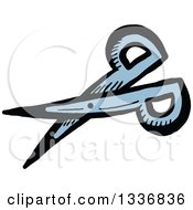 Clipart Of A Sketched Doodle Of A Pair Of Scissors Royalty Free Vector Illustration