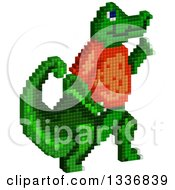 Pixel Styled Alligator Walking Upright And Wearing A Red Shirt On White