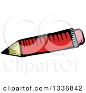 Clipart Of A Sketched Doodle Of A Red Pencil Royalty Free Vector Illustration by Prawny