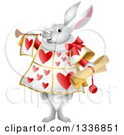 Clipart Of A White Herald Rabbit Holding A Scroll And Blowing A Trumpet Royalty Free Vector Illustration