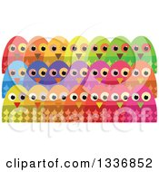 Clipart Of Colorful Crowd Of Owls Royalty Free Vector Illustration by Prawny