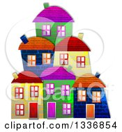 Clipart Of Colorful Village Building Facades With A Shadow On White Royalty Free Illustration