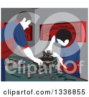 Clipart Of Male Mechanics Working On Car Engine Parts In A Garage Royalty Free Vector Illustration