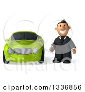 Clipart Of A 3d Short Caucasian Businessman By A Green Convertible Car Royalty Free Illustration