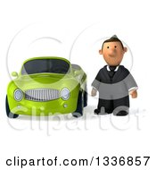 Clipart Of A 3d Sad Short Caucasian Businessman By A Green Convertible Car Royalty Free Illustration