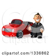 Clipart Of A 3d Short Caucasian Businessman Presenting A Red Convertible Car Royalty Free Illustration
