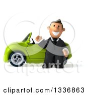 Clipart Of A 3d Short Caucasian Businessman Waving By A Green Convertible Car Royalty Free Illustration