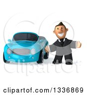 Clipart Of A 3d Short Caucasian Businessman Welcoming By A Blue Convertible Car Royalty Free Illustration