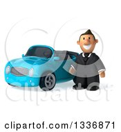 Clipart Of A 3d Short Caucasian Businessman By A Blue Convertible Car Royalty Free Illustration