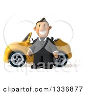 Clipart Of A 3d Short Caucasian Businessman Standing By A Yellow Convertible Car Royalty Free Illustration