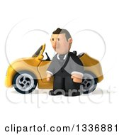 Clipart Of A 3d Sad Short Caucasian Businessman Standing By A Yellow Convertible Car 2 Royalty Free Illustration