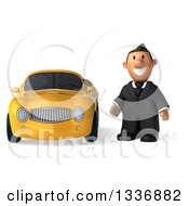 Clipart Of A 3d Short Caucasian Businessman Standing By A Yellow Convertible Car 2 Royalty Free Illustration