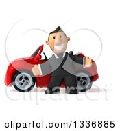 Clipart Of A 3d Short Caucasian Businessman Welcoming By A Red Convertible Car Royalty Free Illustration