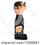 Clipart Of A Cartoon Bespectacled Short Caucasian Businessman Facing Right Royalty Free Illustration