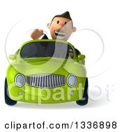 Clipart Of A 3d Short Caucasian Businessman Waving And Driving A Green Convertible Car Royalty Free Illustration