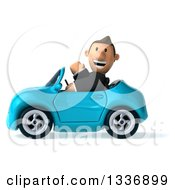 Clipart Of A 3d Short Caucasian Businessman Waving And Driving A Blue Convertible Car 2 Royalty Free Illustration