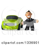 Clipart Of A 3d Short Caucasian Businessman Welcoming By A Green Convertible Car Royalty Free Illustration by Julos
