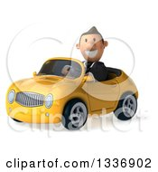 Clipart Of A 3d Short Caucasian Businessman Driving A Yellow Convertible Car Royalty Free Illustration