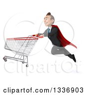 Clipart Of A 3d Super White Businessman Flying With A Shopping Cart 2 Royalty Free Illustration