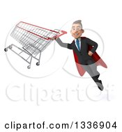 Clipart Of A 3d Super White Businessman Flying With A Shopping Cart Royalty Free Illustration