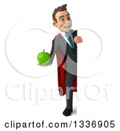 Clipart Of A 3d Full Length Super White Businessman Holding A Green Apple And Looking Around A Sign Royalty Free Illustration