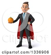 Clipart Of A 3d Super White Businessman Holding A Navel Orange Royalty Free Illustration