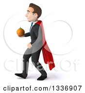 Clipart Of A 3d Super White Businessman Walking To The Left And Holding A Navel Orange Royalty Free Illustration