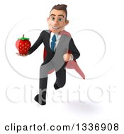 Clipart Of A 3d Super White Businessman Sprinting And Holding A Strawberry Royalty Free Illustration