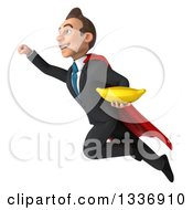 Clipart Of A 3d Super White Businessman Holding A Banana And Flying Up To The Left Royalty Free Illustration