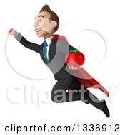 Clipart Of A 3d Super White Businessman Holding A Tomato And Flying Up To The Left Royalty Free Illustration
