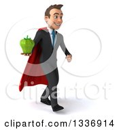 Clipart Of A 3d Super White Businessman Holding A Green Bell Pepper And Walking Slightly To The Right Royalty Free Illustration