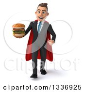 Clipart Of A 3d Super White Businessman Holding A Double Cheeseburger And Walking Royalty Free Illustration