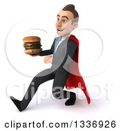 Clipart Of A 3d Super White Businessman Holding A Double Cheeseburger And Speed Walking To The Left Royalty Free Illustration