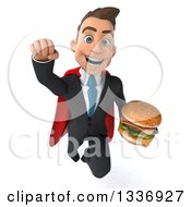 Clipart Of A 3d Super White Businessman Holding A Double Cheeseburger And Flying Royalty Free Illustration