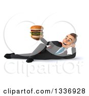 Clipart Of A 3d Super White Businessman Holding A Double Cheeseburger And Resting On His Side Royalty Free Illustration
