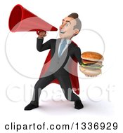 Clipart Of A 3d Super White Businessman Holding A Double Cheeseburger And Announcing To The Left With A Megaphone Royalty Free Illustration