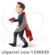 Clipart Of A 3d Super White Businessman Holding A Beef Steak And Walking To The Left Royalty Free Illustration