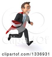 Clipart Of A 3d Super White Businessman Holding A Beef Steak And Sprinting To The Right Royalty Free Illustration