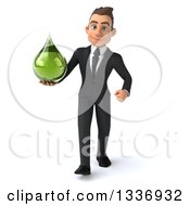 Clipart Of A 3d Young White Businessman Holding A Green Tincture Medicine Drop And Walking Royalty Free Illustration by Julos