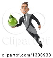 Clipart Of A 3d Young White Businessman Holding A Green Tincture Medicine Drop And Flying Royalty Free Illustration by Julos
